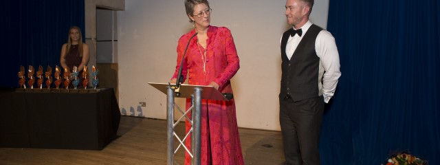Jane and James shared a smile before she announced the best specialist e-commerce retailer award at the Underlines gal